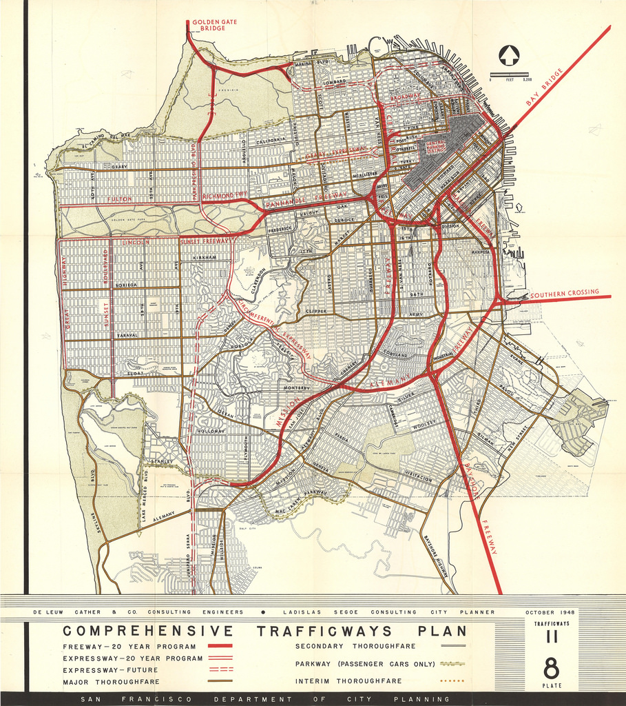 The Comprehensive Freeway Plan from 1948 shows how city planners hoped to bulldoze many neighborhoods in order to make driving easier for car commuters. (Click to enlarge.)