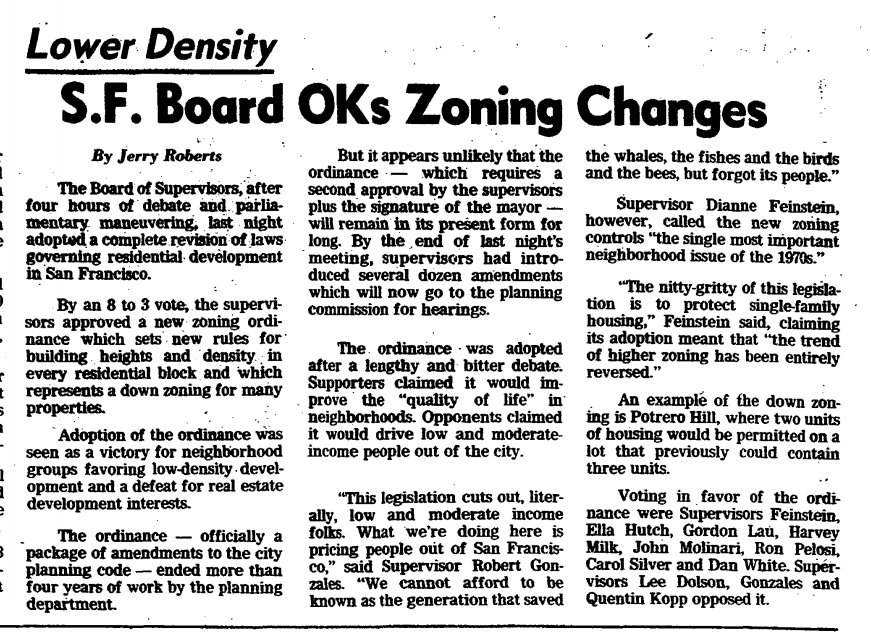 "An article from the ""San Francisco Chronicle"" on September 19, 1978, reporting on the adoption of the new citywide zoning."
