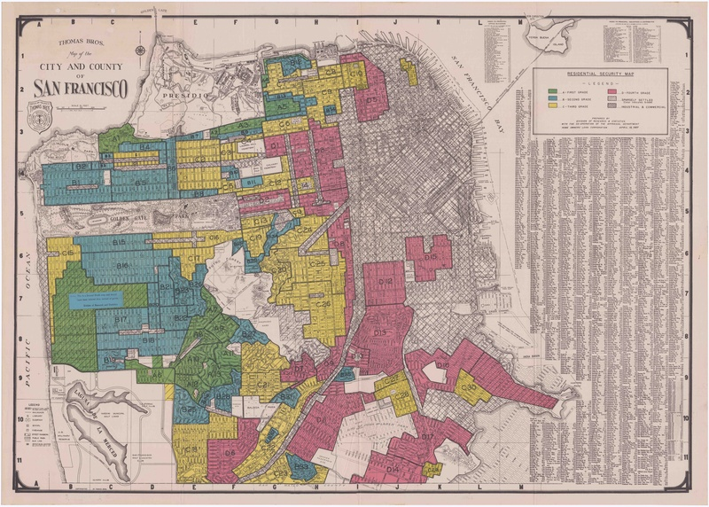 "This 1937 Residential Security Map of San Francisco made by HOLC shows how certain neighborhoods were ""redlined"" in order to deny residents home loans. Via the <a href=""http://salt.umd.edu/T-RACES/mosaic.html"" target=""_blank"">University of Maryland's T-RACES project</a>."