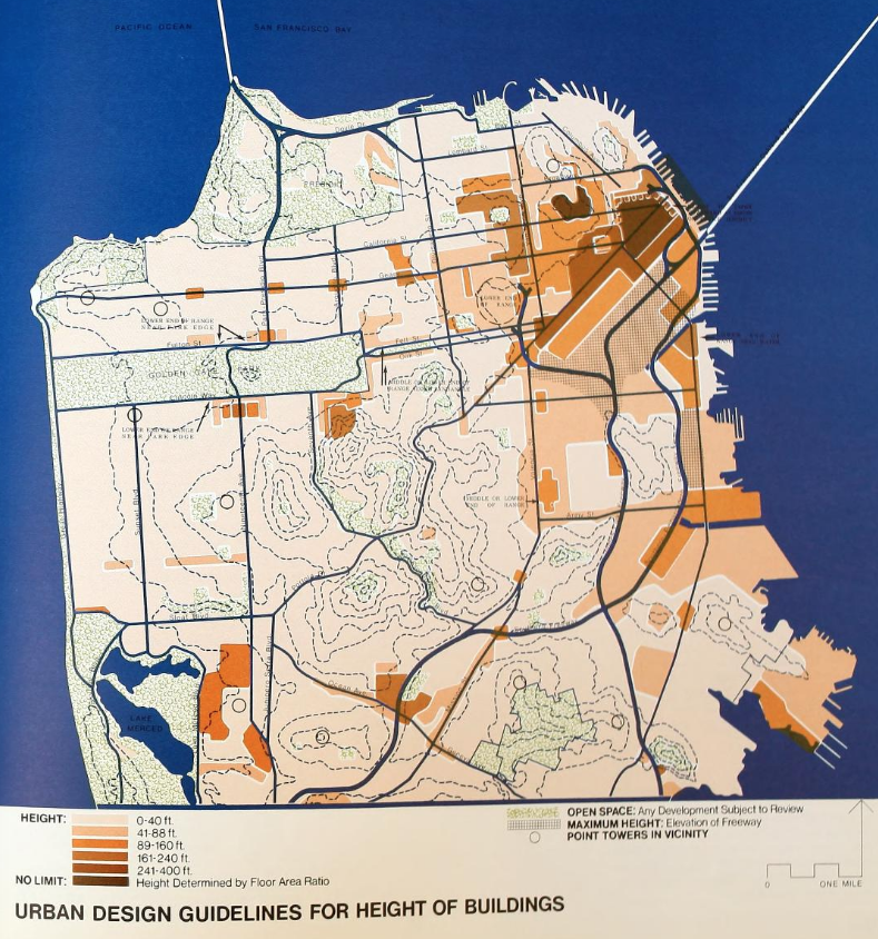 A map from San Francisco's 1971 Urban Design Plan showing low-density development covering a vast majority of the city. Via archive.org.