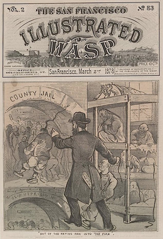 The cover of March 2, 1878, edition of the San Francisco Illustrated Wasp mocks the enforcement of the Cubic Air Ordinance. (Click to enlarge.)