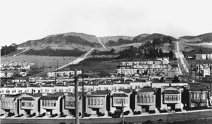 By the time this photo was taken, in 1928, the Sunset or Parkside district was being transformed from sand dunes into a suburban neighborhood of single family homes—for whites only, of course. Via the Western Neighborhoods Project.