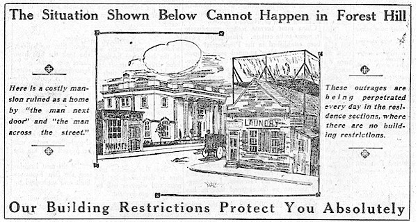 This 1912 advertisement for the forthcoming Forest Hill neighborhood emphasizes the development's restrictive code, which included racial covenants to prevent people of color from moving in.