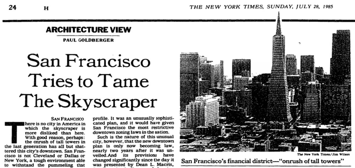 "Coverage of San Francisco's new downtown zoning code in the July 28, 1985, edition of the ""New York Times."""