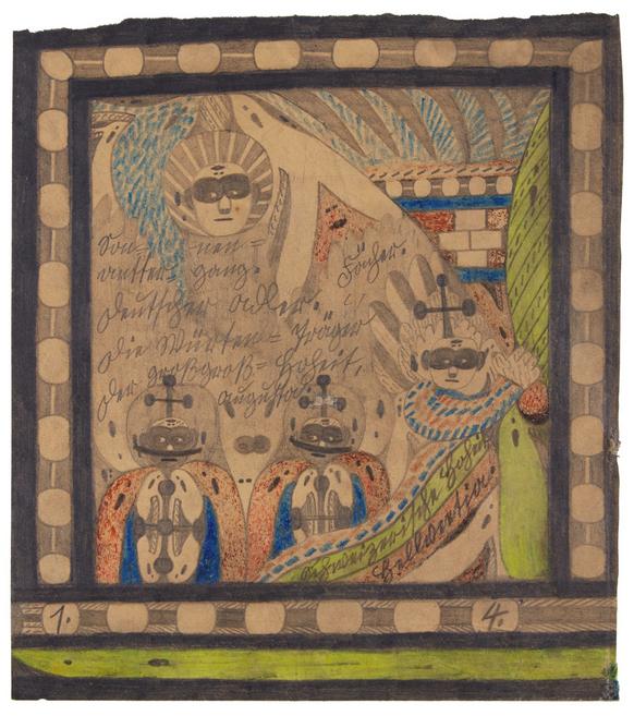 """Top: """"Der San Salvathor,"""" by Adolf Wölfli. Graphite, colored pencil, and crayon on paper, 58 1/2 x 83 in. Executed in 1926. Above: """"Die Wurden-Trager Die Wurden,"""" by Adolf Wölfli. Graphite and crayon on paper mounted on tracing paper, 14 x 12 1/2 in. Executed in 1916. Images via Sotheby's."""