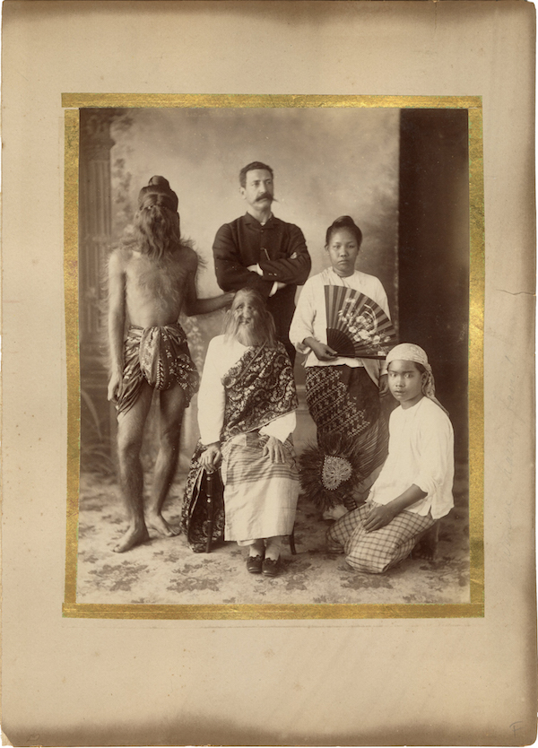 "A ""boudoir card"" of the Sacred Hairy Family of Burma, two of whom had hypertrichosis, and were exhibited by P.T. Barnum in England for one season, and for a short tour in the United States in 1888. (Courtesy of Potter & Potter Auctions)"