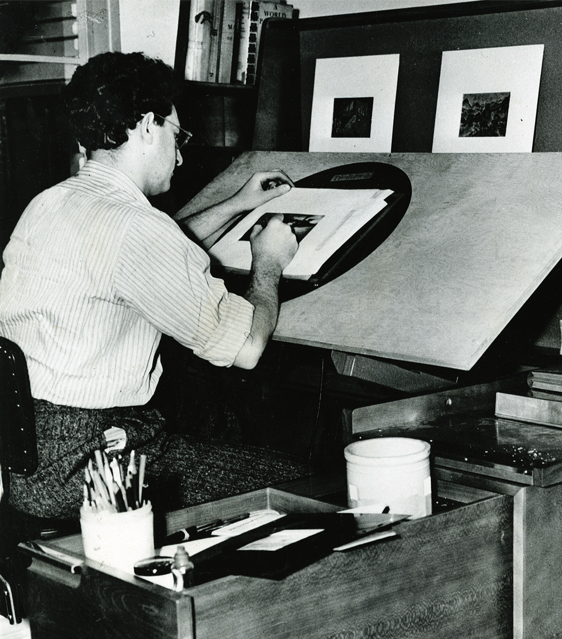 A Disney artist working on Fantasia (1940) at a Kem Weber designed Background Desk. Photo by Baskerville, © UCSB.