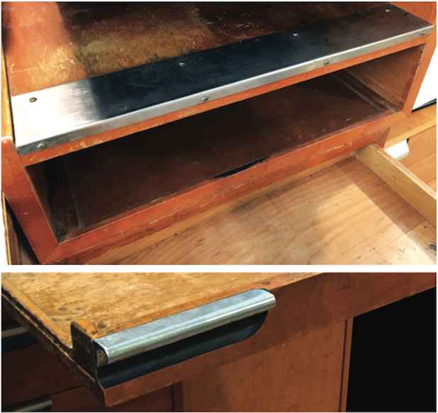 "Top: Cigarette guard on an Animator's Desk. Above: Construction detail of the ""breadboard"" drawer. Note the beautiful workmanship involved in the recessed drawer pull (and bottle opener), accented by the only use of paint on the furniture. Both photos © Dave Bossert."