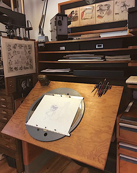 Ollie Johnston's Kem Weber Compact Animator's Desk. Courtesy of Mark Kirkland; photo © Dave Bossert.