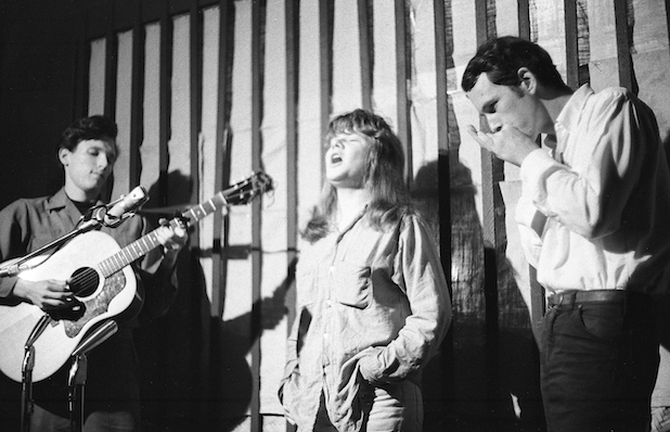 From Left to right, Jorma Kaukonen, Janis Joplin, and Steve Talbott at the Folk Theater in San Jose, California, 1962. Photo by Marjorie Alette, via St. Martins.