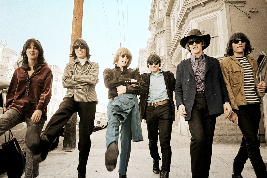 The classic lineup of Jefferson Airplane, circa 1967. From left to right: Grace Slick, Spencer Dryden, Jack Casady, Marty Balin, Paul Kantner, and Jorma Kaukonen. Photo via jeffersonairplane.com