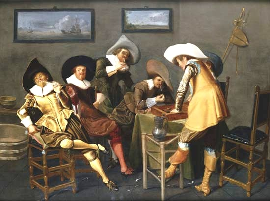 "This 1627 artwork ""Gentlemen Smoking and Playing Backgammon in an Interior"" by Dutch Golden Age painter Dirck Hals depicts 17th century pipe-smoking culture."
