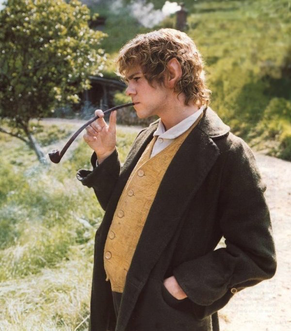 "Meriadoc ""Merry"" Brandybuck (played by Dominic Monaghan) is a hobbit that takes pleasure in pipe-smoking in ""The Lord of the Rings"" film trilogy, which debuted between 2001 and 2003."