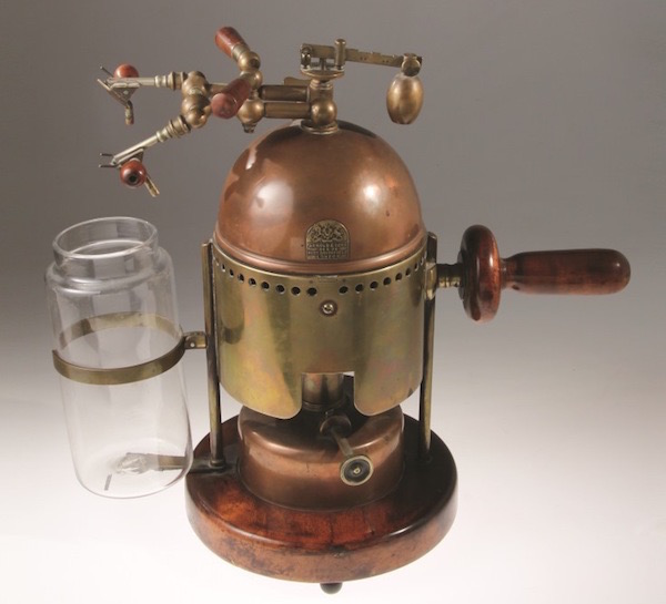 The Lister Spray machine developed by Dr. Joseph Lister disseminated a carbolic acid solution in the operating theater. This one was made by Arnold and Sons around 1880. From the M. Donald Blaufox Collection. Photo courtesy of the Dittrick Medical History Museum.