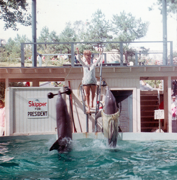 "A photo of Skipper and Dolly performing at Six Flags Over Georgia in 1968. ""As you can see from the poster, Skipper the porpoise was running for president that year. Maybe we should have elected him instead of Nixon,"" Tim Hollis says. (Courtesy of Tim Hollis)"
