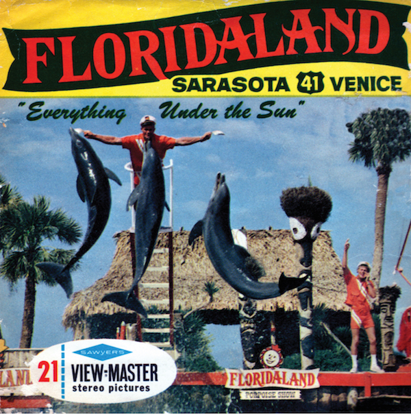 The Floridaland theme park, which opened on Christmas Day 1964 and closed on July 2, 1971, sold souvenirs like this View-Master set featuring performing dolphins and porpoises. It's also where Malcolm Brenner claims he had a sexual affair with Dolly the dolphin. (Courtesy of Tim Hollis)