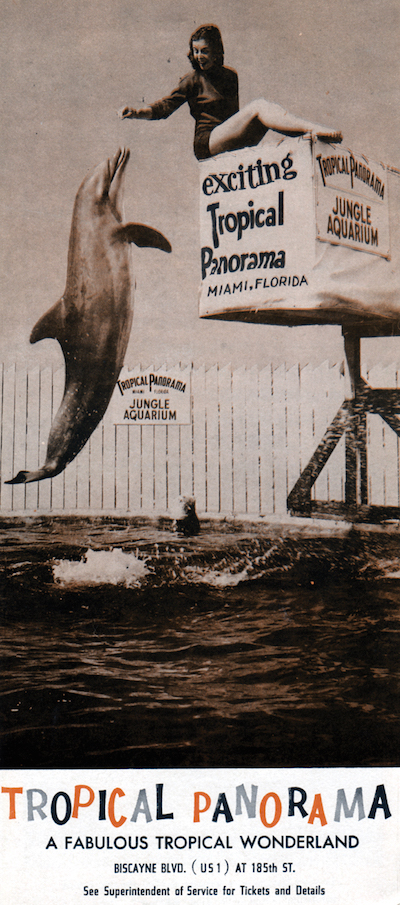 "This brochure is from Tropical Panorama, a small roadside attraction in Miami in the 1940s and '50s that had trained porpoises, monkeys in cages, a bird show, alligator wrestling, and ""Elsie the sea cow,"" a.k.a. a manatee. The park changed owners and operated as Aquafair between 1956 and 1959. (Courtesy of Tim Hollis)"