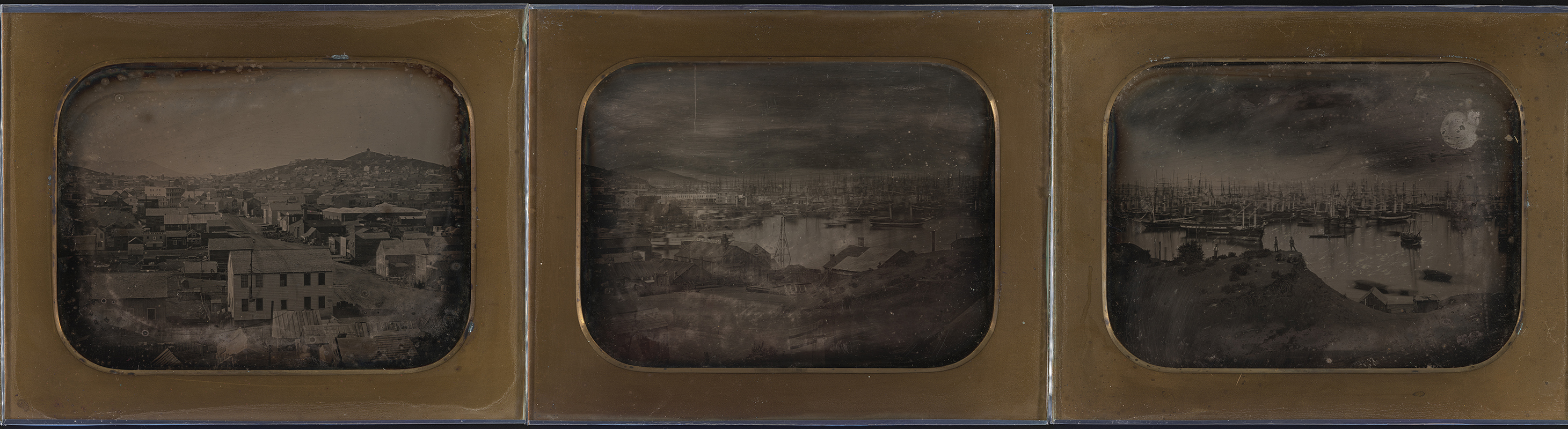 Three daguerreotypes from a seven-part panorama of San Francisco taken by an unknown photographer in 1851. Courtesy the California Historical Society. (Click to enlarge.)