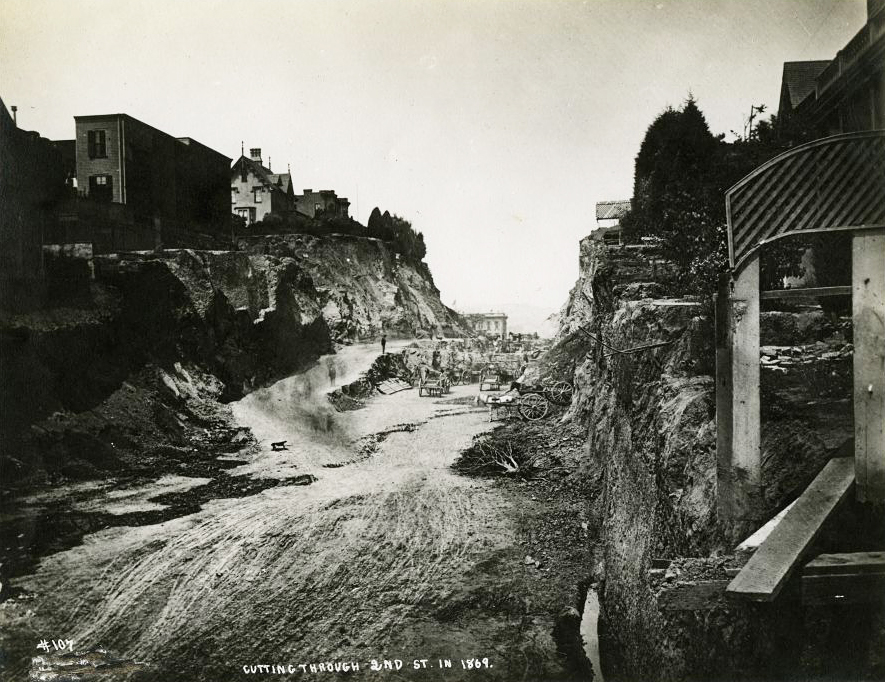 Cutting through Second Street, San Francisco, taken by T.E. Hecht in 1869. Courtesy the California Historical Society.