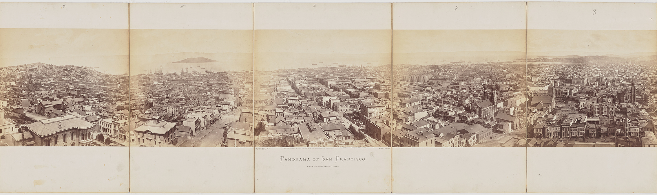 "Panels four through eight of Eadweard Muybridge's ""Panorama of San Francisco from California Street Hill"" taken in 1877. Courtesy the California Historical Society. (Click to enlarge)"