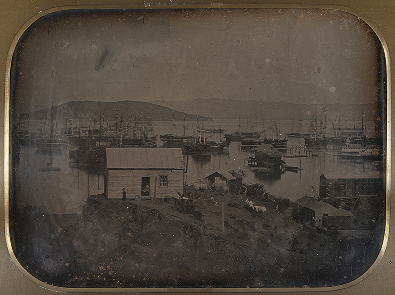 Detail of a daguerreotype image of San Francisco taken by an unknown photographer in 1851. Courtesy the California Historical Society. (Click to enlarge)