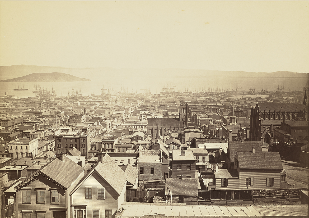 """Panorama (3 of 5): View Towards Goat Island, San Francisco,"" a mammoth-plate albumen print by Watkins from 1864. Courtesy the California Historical Society. (Click to enlarge)"