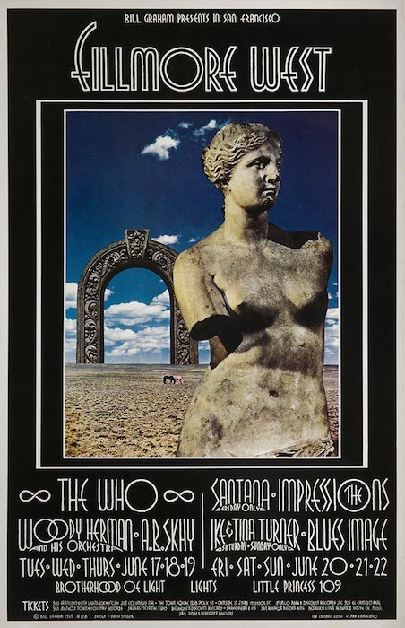 David Singer's first poster for Bill Graham, BG-178, advertised performances by The Who, Santana, and Ike & Tina Turner. Image via David Singer, copyright Wolfgang's Vault.