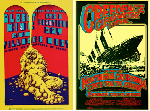 Immediately prior to David Singer's arrival on San Francisco's rock-poster scene, Fillmore West posters were designed by artists like Lee Conklin (left) and Randy Tuten (right).