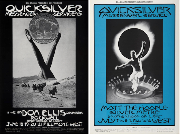 One of Singer's favorite bands was Quicksilver Messenger Service. In June and July of 1970, he designed these two posters for the band's shows at the Fillmore West.