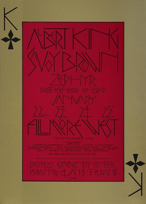 "This Singer poster, BG-213, is one of only a few Fillmore posters not to have the words ""Bill Graham Presents in San Francisco"" at the top. Singer put the line in the lower-middle portion of the poster, and much to Graham's consternation, shortened ""Francisco"" to ""Frisco."""
