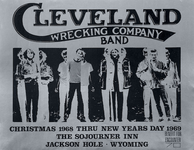 This poster for a residency by Cleveland Wrecking Company at the Sojourner Inn in Jackson Hole, Wyoming, is Singer's only published poster prior to his work for Bill Graham.
