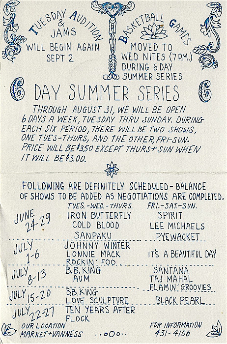 During the summer, when school was out, Bill Graham ran shows six night a week rather than four. He called these shows his summer series. This calendar was printed on the back of the postcard version of David's Singer's first poster for Graham.