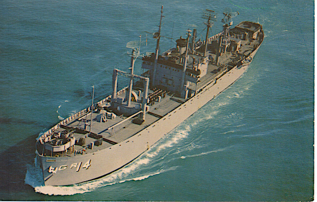 Postcard of <em>USS Interpreter</em> (AGR-14), the ship David Singer was assigned to from 1962 to 1964. When it was not at sea, the <em>Interpreter</em> was stationed in San Francisco Bay.
