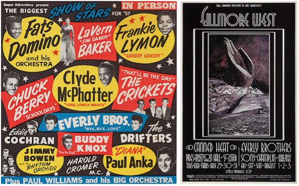 The first time Singer saw the Everly Brothers in the late 1950s, music posters looked like this (left). Years later, in 1969, Singer was asked by Bill Graham to create an Everly Brothers poster of his own.
