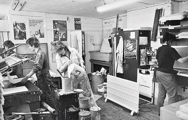 Members of See Red working in the Iliffe Yard studio in 1982. © See Red Women's Workshop.