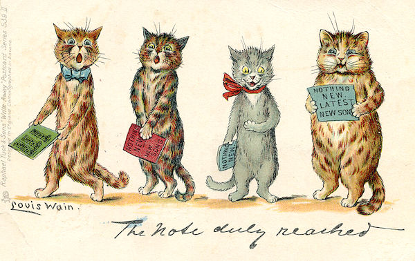 deac33d8 This Louis Wain postcard, published by Raphael Tuck & Sons and postmarked  1902, shows Louis Wain Cats caroling. (Via eBay)