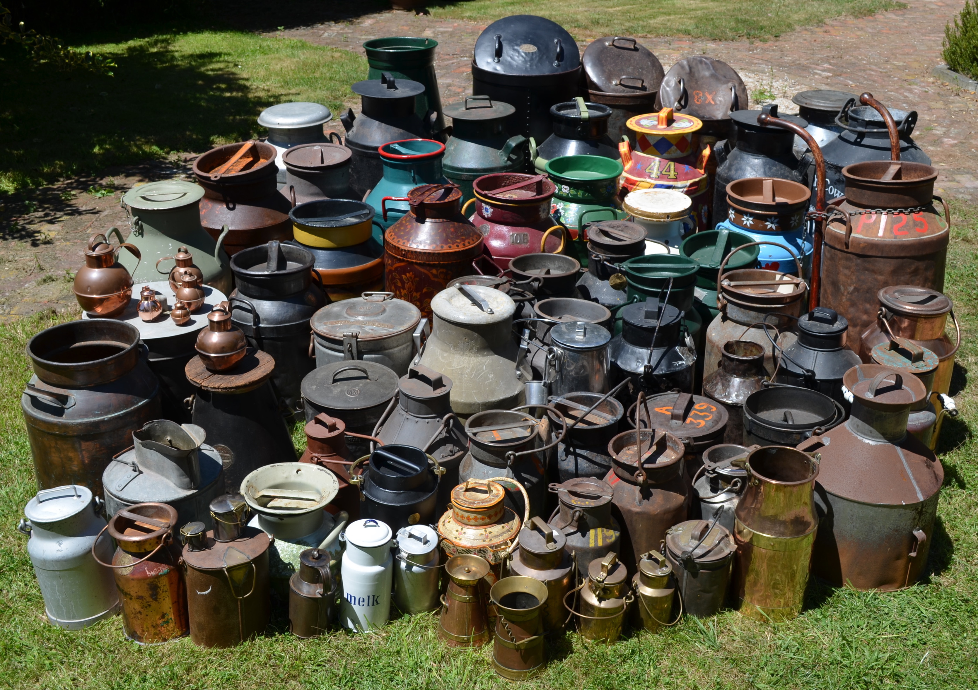 A portion of Ian Spellerberg's collection of milk cans.