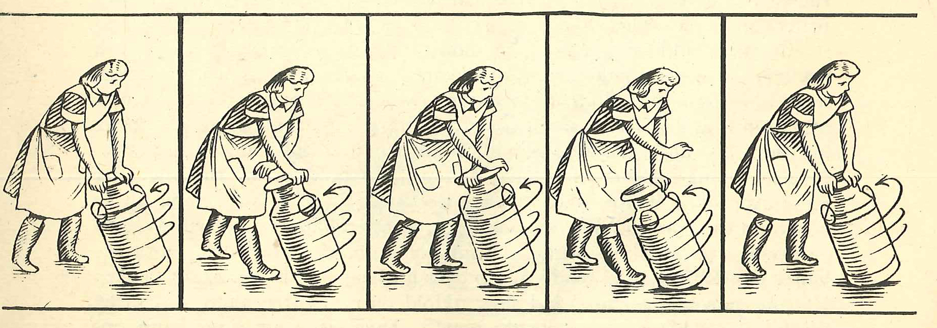 "This illustration from A Book of Farmcraft, 1942, shows how to reel a milk can. Published during World War II, it was dedicated ""to our mothers."""