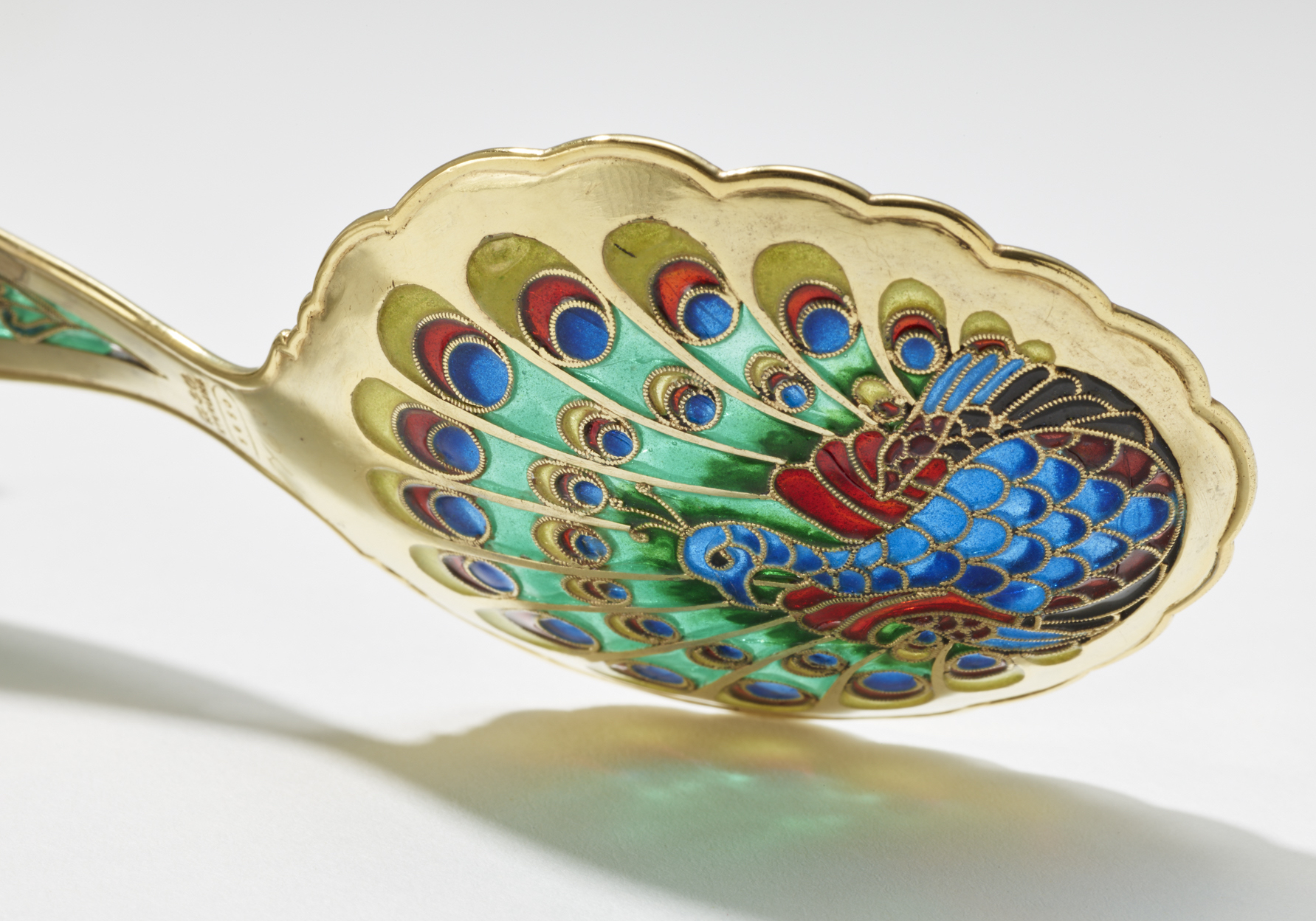 Gorham Manufacturing Company, Bonbon Spoon (detail), ca. 1893. Silver with gilding and plique-à-jour enamel. Anonymous gift. RISD Museum, Providence, RI.