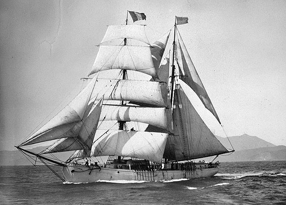 The Tahiti, seen here sailing on San Francisco Bay, was a 124-foot brigantine built by Turner Shipyards in 1881.