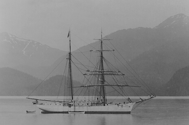 The new Matthew Turner being built by Call of the Sea takes much of its design from another Turner Shipyards brigantine, the Galilee, seen here in 1907 near Sitka, Alaska.