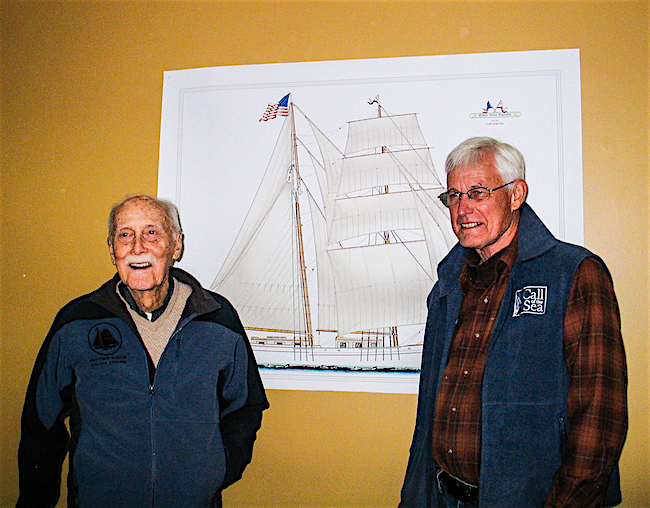 Before he passed in 2014, Matthew Turner family historian Murray Chapman Hunt (left) got to know Alan Olson, who's in charge of the brigantine named after his great-grandfather.