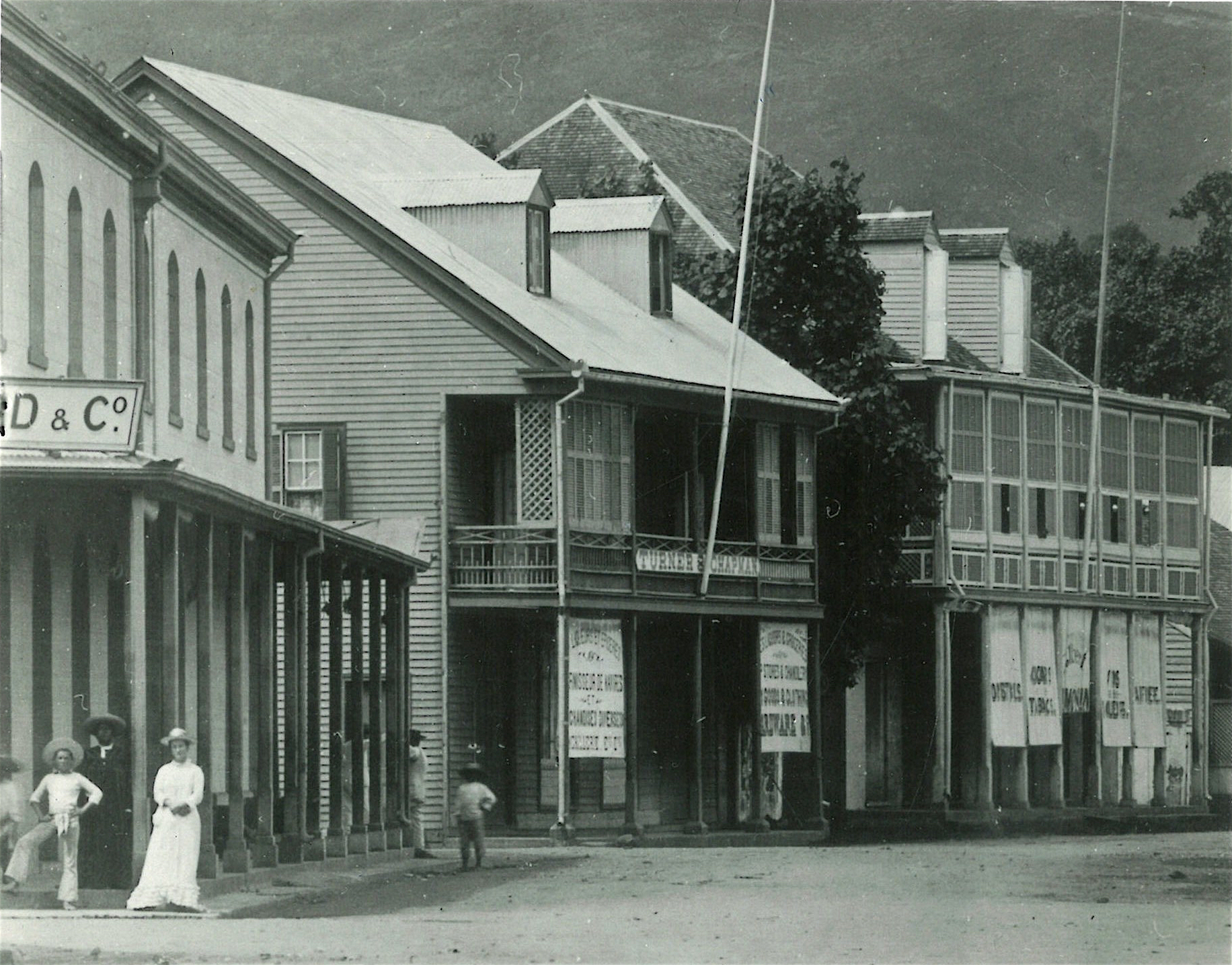 The Turner-Chapman building (center) in Papeete, Tahiti, circa early 1880s.