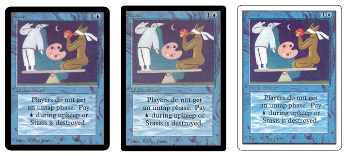 Left to right: The Alpha, Beta, and Unlimited editions of Stasis. Images via Card Kingdom