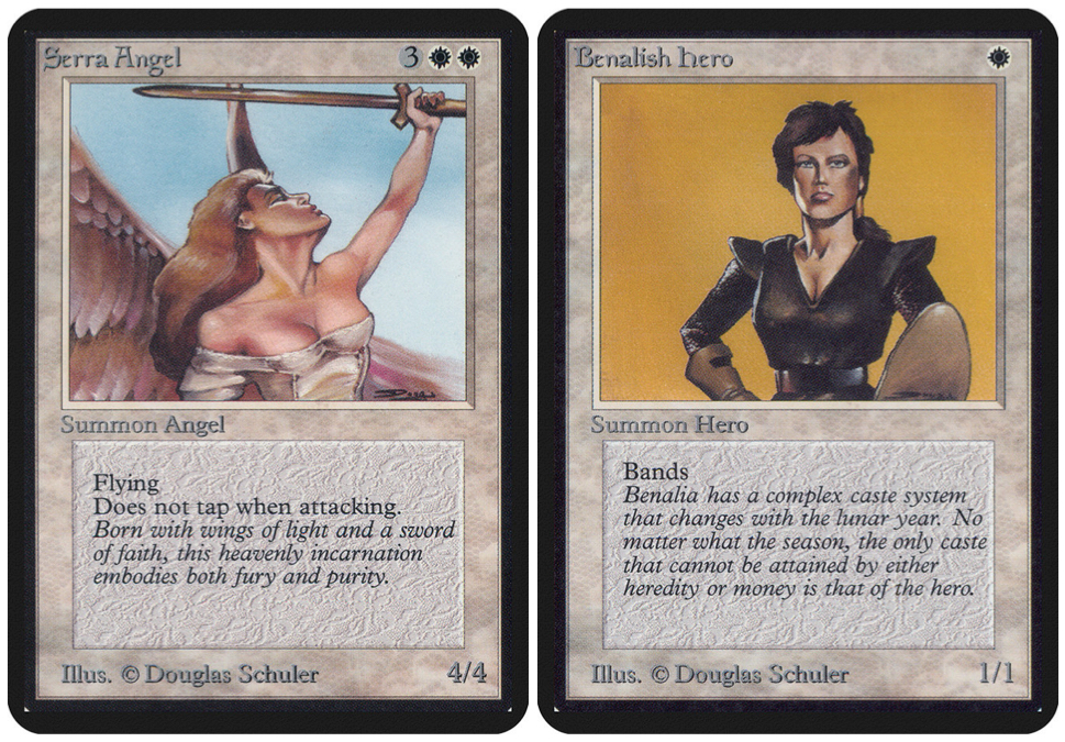 Left: Serra Angel. Right: Benalish Hero. Both by Douglas Schuler.