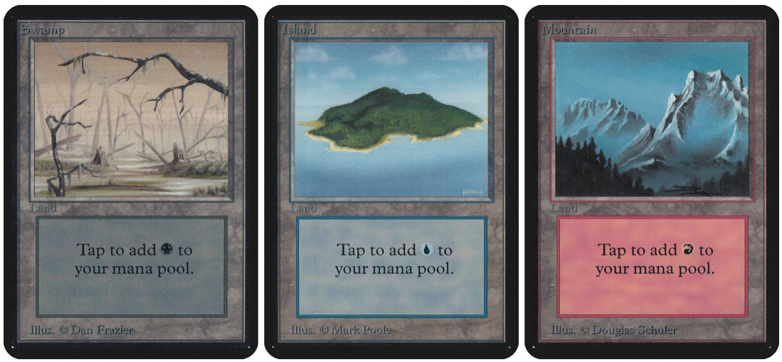 Left to right: Three lands by Dan Frazier, Mark Poole, and Douglas Schuler.