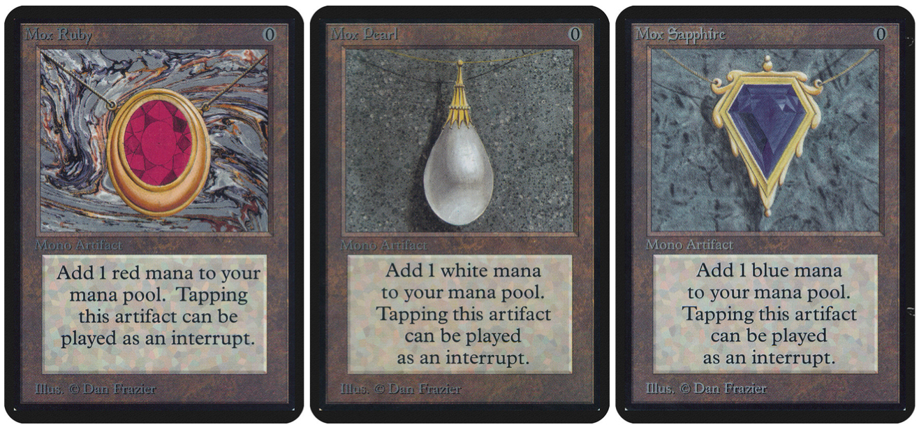 Left to right: Mox Ruby, Mox Pearl, and Mox Sapphire. All by Dan Frazier.
