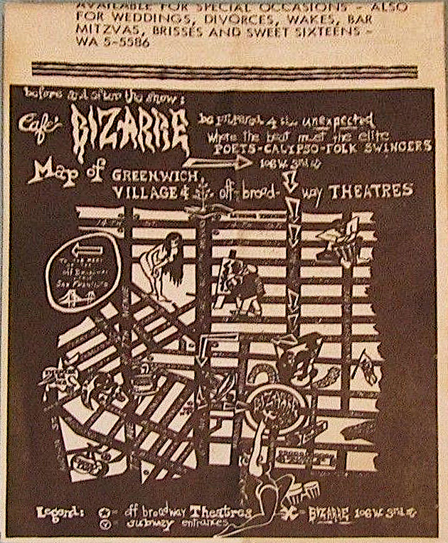 The back of the Café Bizarre menu featured a map and odd list of events they catered.