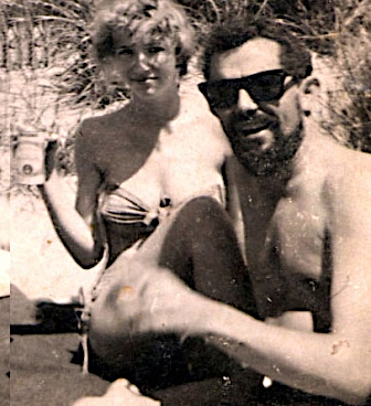 Pat and Rafio, on the beach in Provincetown, 1959. Photo: Pat Brooks.