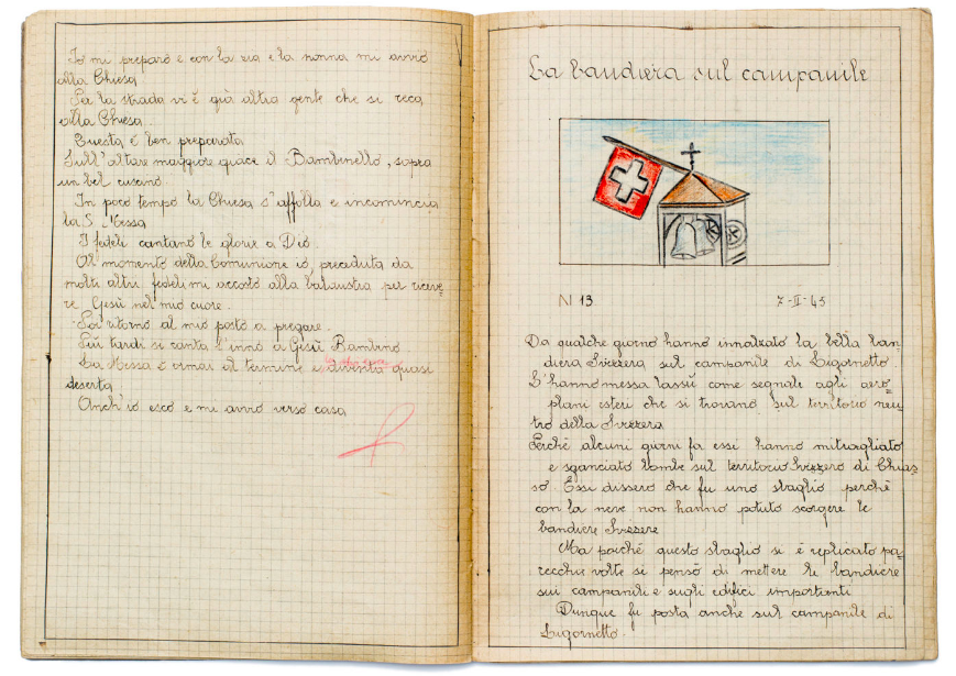 "Excerpts from an Italian refugee <a href=""https://www.exercisebookarchive.org/books/che4049ar441/"" target=""_blank"">middle schooler's notebook</a> dated February 7, 1945, and titled ""The Flag on the Bell Tower."" ""A few days ago, they raised the beautiful Swiss flag on the bell tower of Ligornetto. They put it up there as a signal to foreign planes that are on the neutral territory of Switzerland. Because a few days ago they strafed and dropped bombs on the Swiss territory of Chiasso. They said it was a mistake because with all the snow they could not see the Swiss flags. But since this mistake has been repeated several times it was thought to put the flags on the bell towers and on the important buildings."""